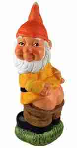 Cheeky Mooning Garden Gnome Ornament (Orange Hat)