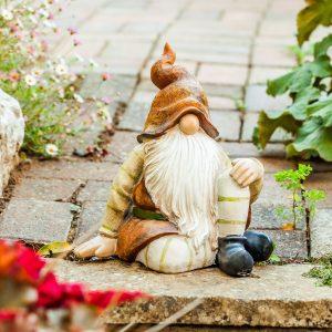 Large 28cm Sitting Woodland Brown Gnome