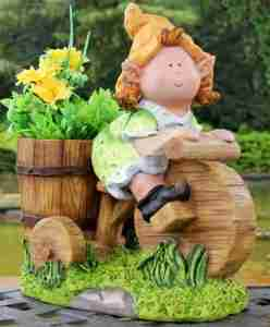 GIRL GNOME ON BIKE PLANT POT